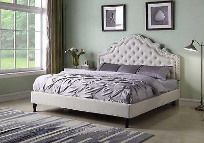 Queen Size Beige Button Headboard Frame With Slats