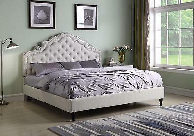 queen size platform bed beige button tufted