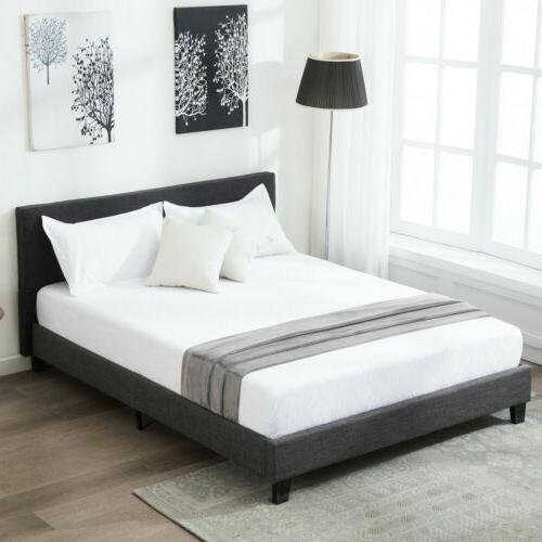 queen size platform bed frame upholstered gray