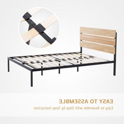 Queen Size Platform Bed Frame Wooden Headboard Slats Furniture