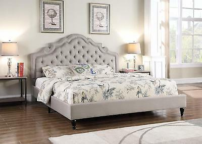 Queen Size Platform Bed Light Grey Button Accents Arched Hea