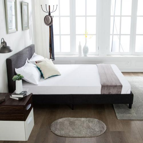 Queen Size Upholstered Platform Headboard w/Wood