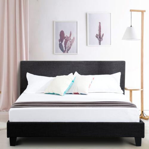 Queen Upholstered Platform Bed Frame Headboard w/Wood