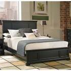 Queen Size Wood Bed Frame Raised Panel Black Finish Headboar