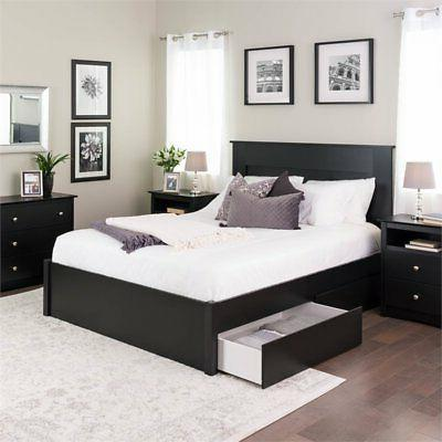 Prepac Platform Bed with Drawers in Black