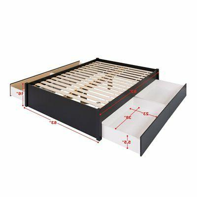 Prepac Queen Platform Bed with 4 Drawers in