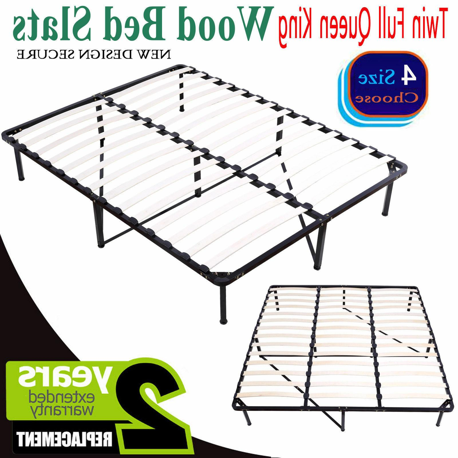 Twin Full Queen King Bed Wood Slats Metal Platform Bed Frame