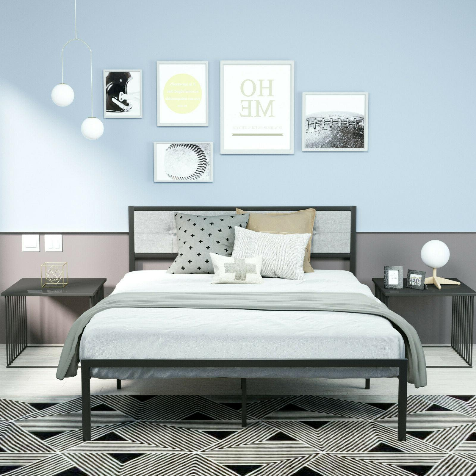 Twin/Full/Queen platform Bed With Modern Upholstery headboard