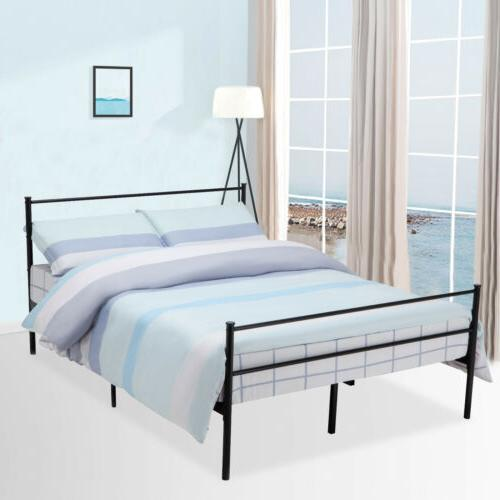 Queen Size Metal Bed Frame Platform Headboards w/ 6 Legs Bed