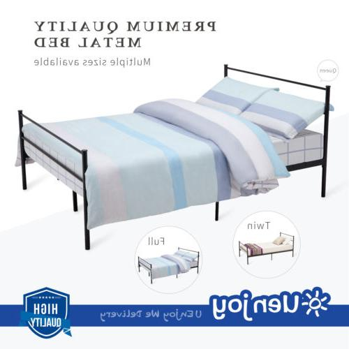 Twin Full Queen Size Metal Bed Frame 6 Leg Platform Headboar