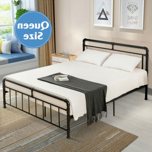 Queen Size Metal Bed Frame Platform Mattress Foundation Bedr
