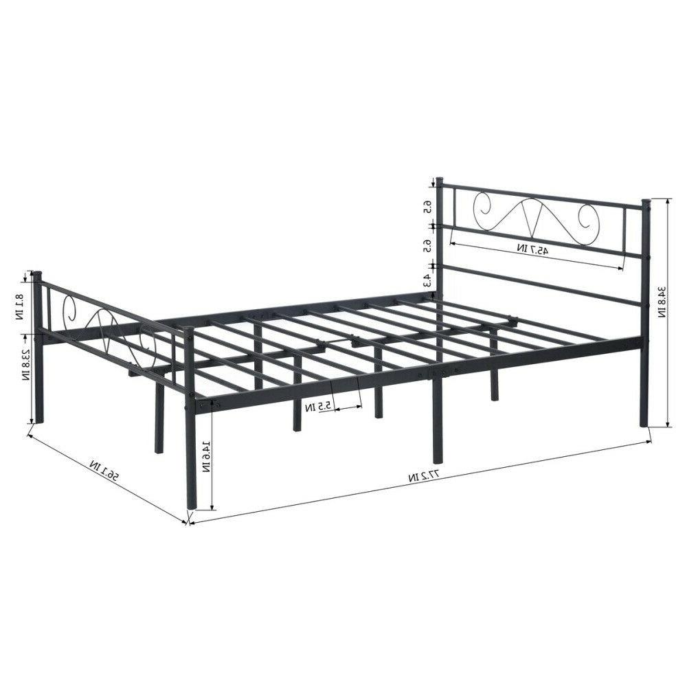 Twin/Full Size Bed Metal Platform Bed with Footboard