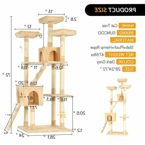 """72""""Cat Tree Tower Pet Scratching House Rats"""