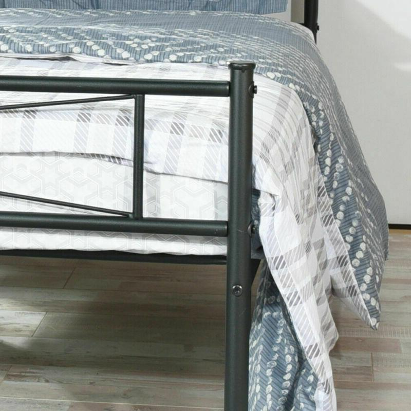 Twin Size Metal Frame Mattress Foundation Headboard and Footboard