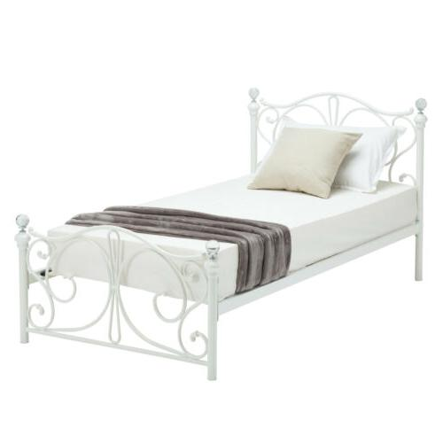 Twin Size Metal Bed Frame Upholstered Kids Furniture