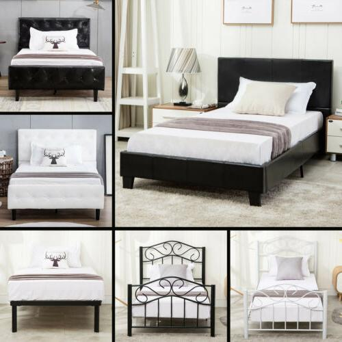 twin size metal bed frame upholstered headboard