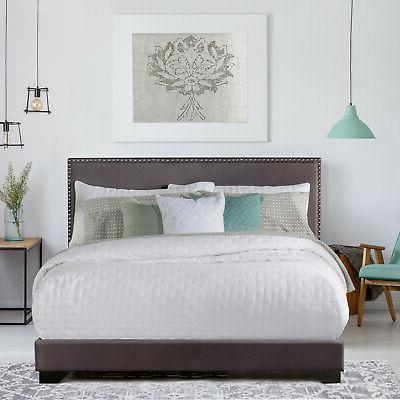 Queen Size Upholstered Bed Frame With Wood Slats Platform He