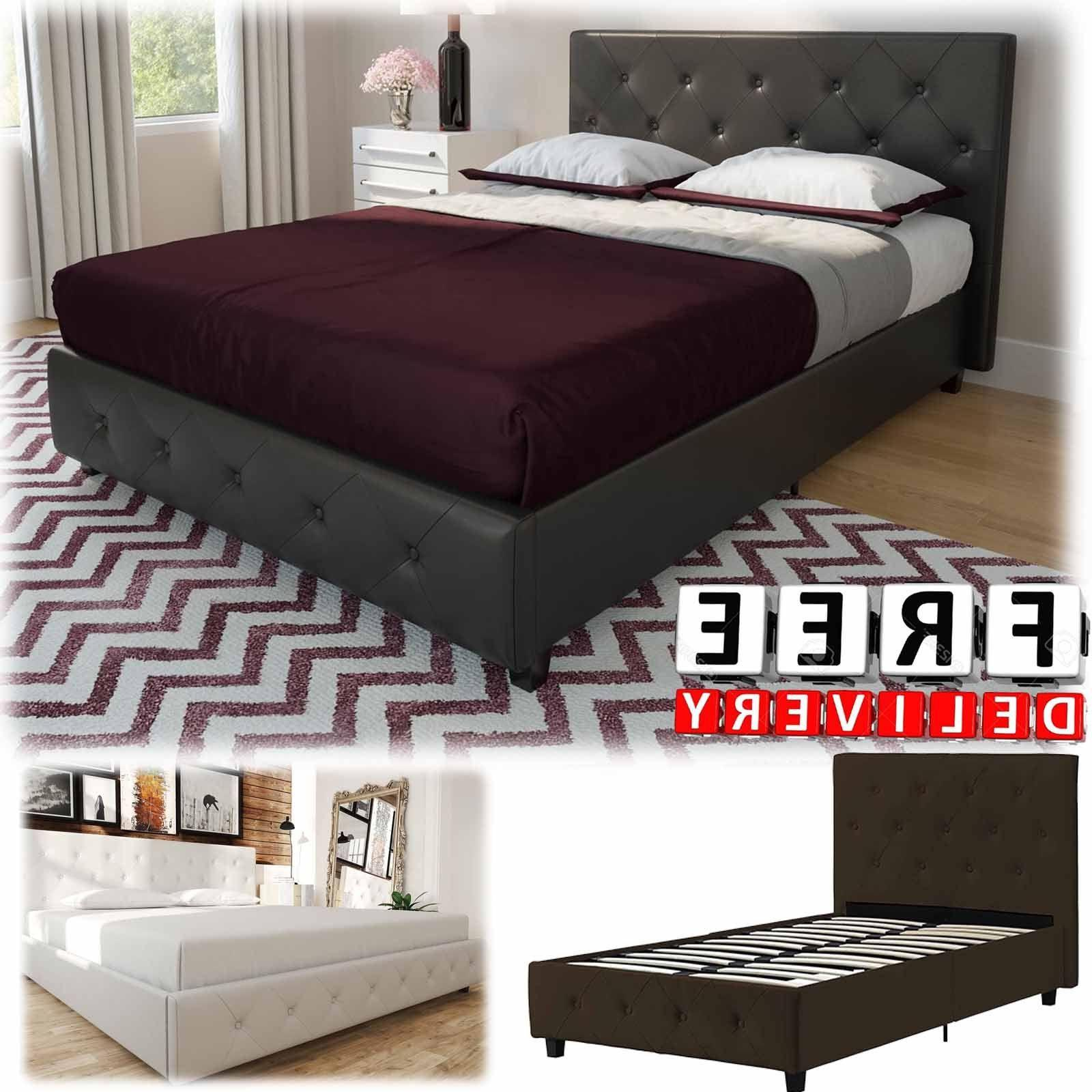 upholstered bed frame twin queen king modern