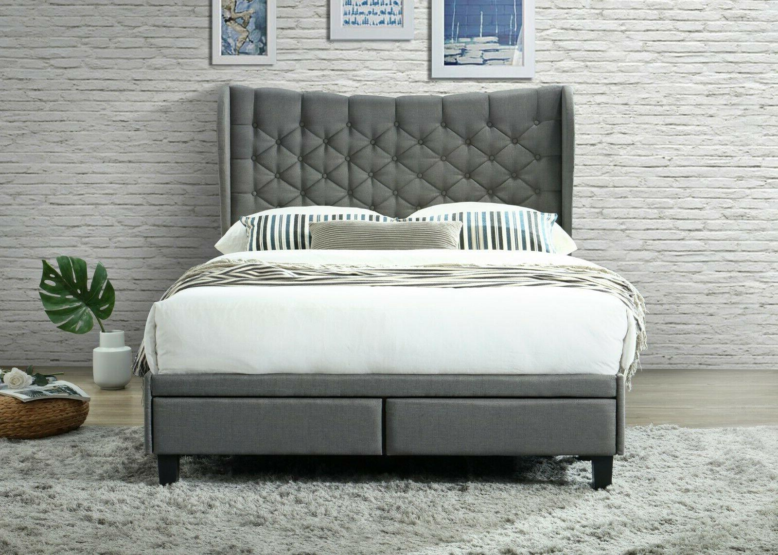 Upholstered Bed With Headboard 2 Storage Drawers