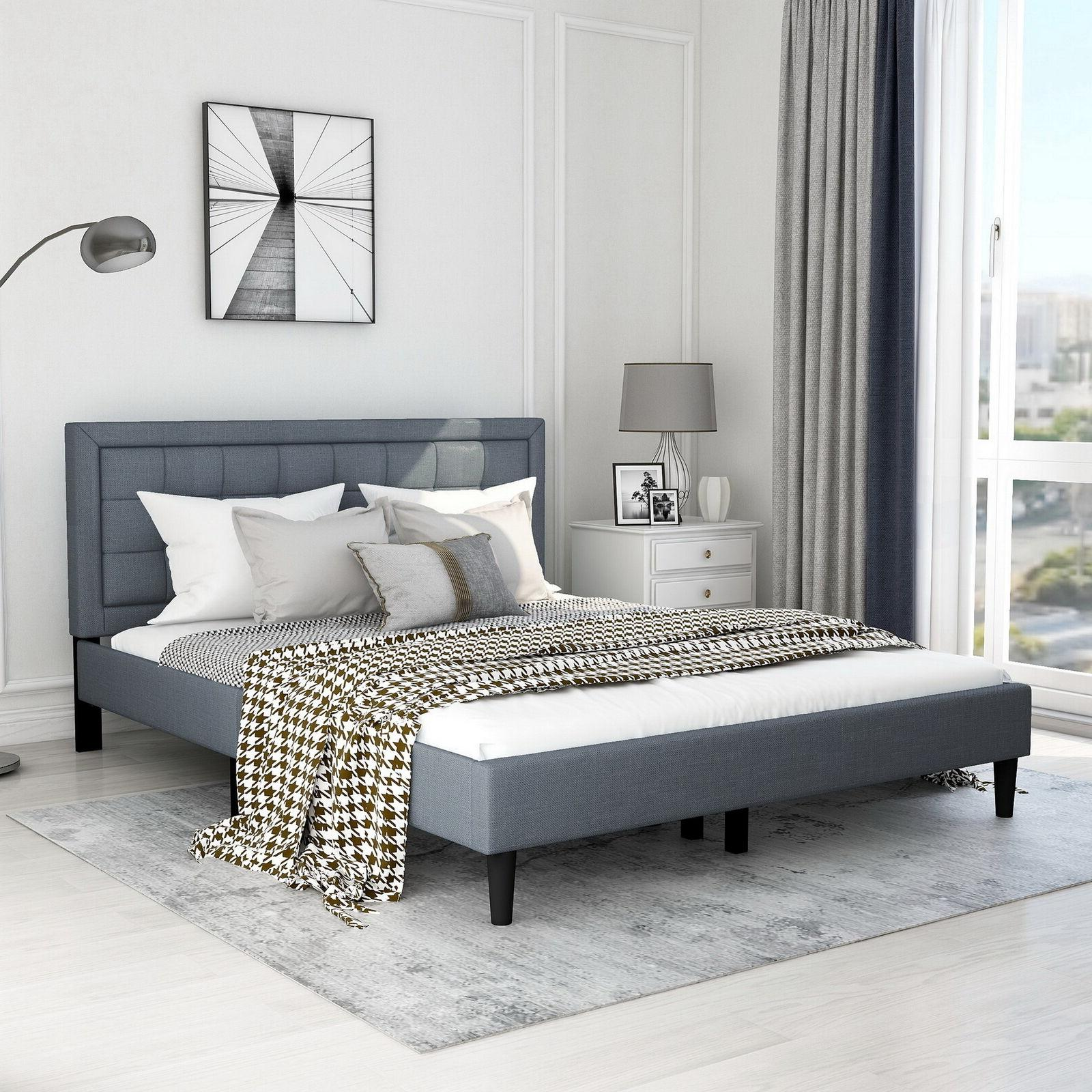 Upholstered Platform Bed Mattress with and Wood Slat