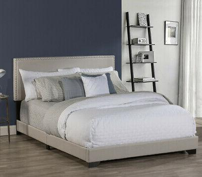 Upholstered Platform Queen Size Wood & Mattress