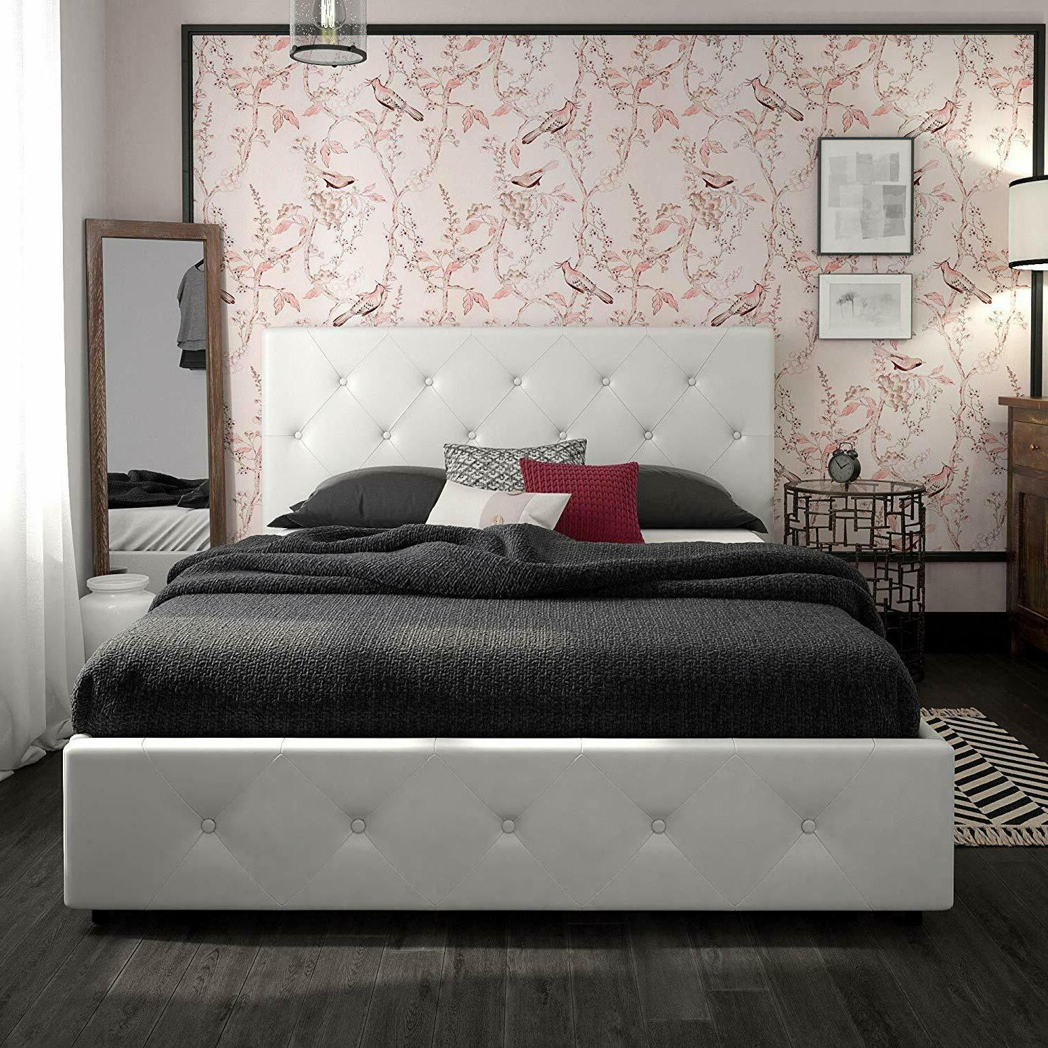 Upholstered Platform Bed with Leather, Queen
