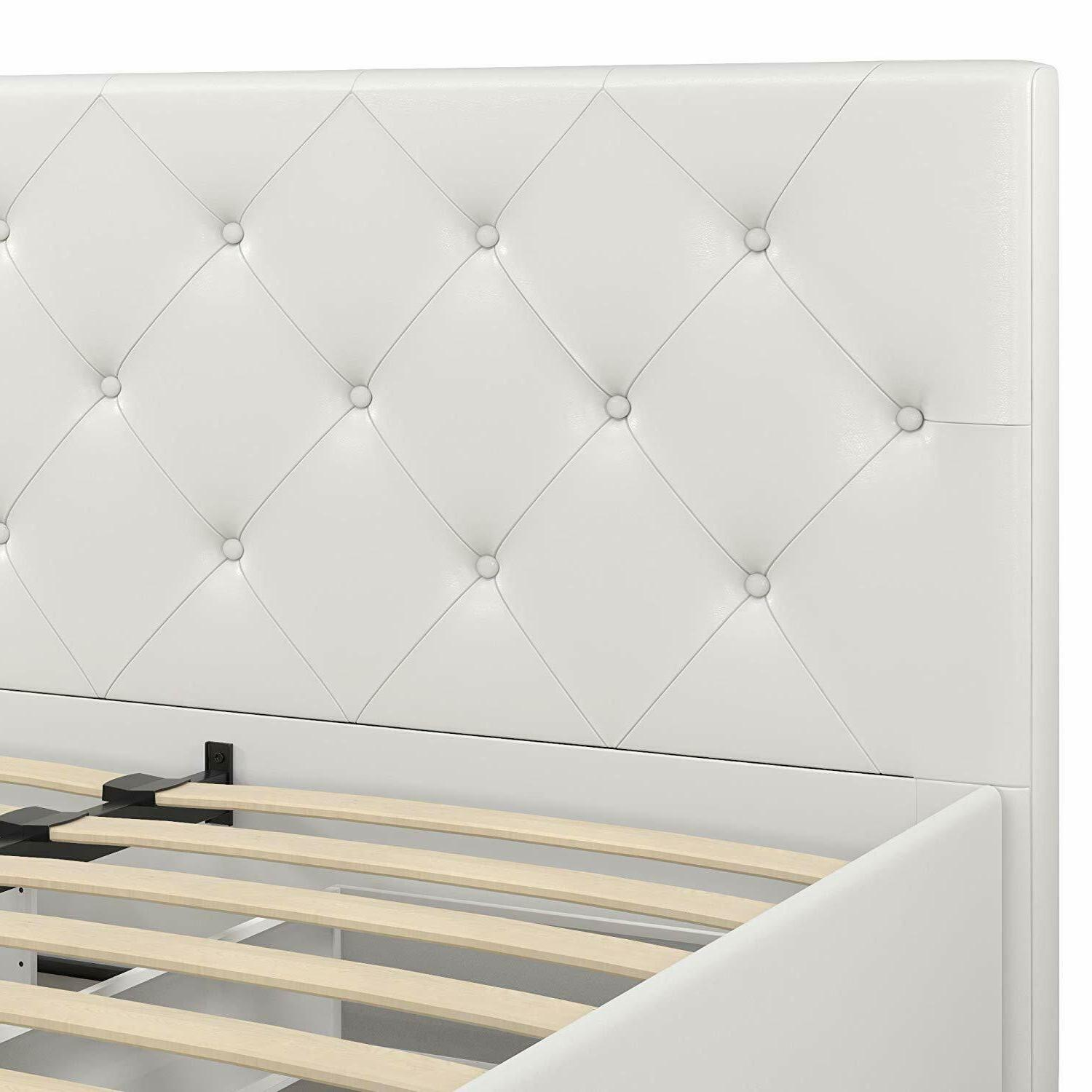 Upholstered Platform Bed Storage Drawers, Faux Leather, Queen