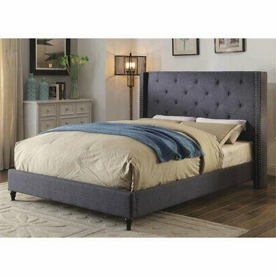 Furniture of Upholstered Wingback Bed in Blue