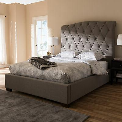 victoire light grey fabric upholstered queen size