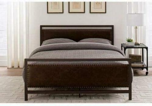 vintage metal and upholstered bed frame queen