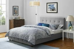 Linen Tufted Upholstered Platform Bed, Button Tufted Headboa