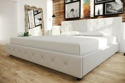 Queen Bed Frame White Leather Button Tufted Headboard Footbo