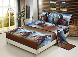 Luxurious 3D Bed Sheet Set Wild Life Animals,Flowers and Sce