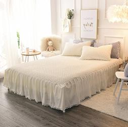LIFEREVO Luxury Velvet Mink Diamond Quilted Fitted Bed Sheet