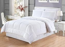 Grand Linen 8 piece Luxury WHITE Dobby Stripe Bed In A Bag R