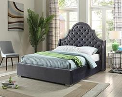 Meridian Furniture MadisonGrey-Q Madison Velvet Upholstered