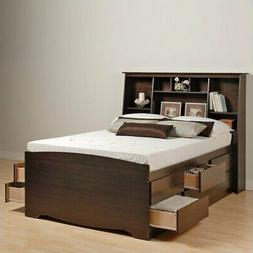 Prepac Manhattan Tall Queen Bookcase Platform Storage Bed in