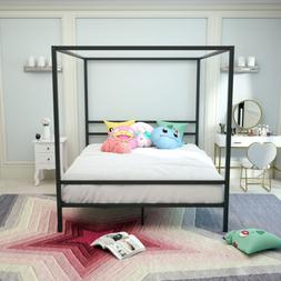 Queen Size 4 Post Canopy Metal Bed Frame Platform Home Bedro