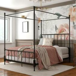 Pemberly Row Metal Canopy Bed in Queen Size Frame in Black