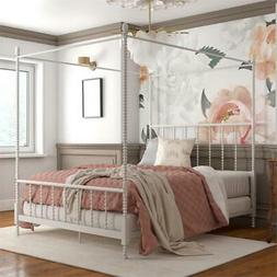 Pemberly Row Metal Canopy Bed in Queen Size Frame in White