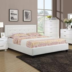 Modern Faux Leather Button Tufting White Queen Full Bed w/ S