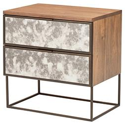 "Rivet Modern Wood and Antique Mirror Panel Nightstand, 24"","
