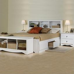 Prepac Monterey White Queen Wood Platform Storage Bed 3 Piec