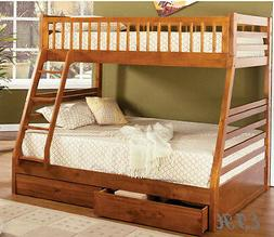 NEW CAMDEN RUSTIC OAK FINISH WOOD TWIN OVER FULL BUNK BED w/