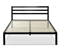 New Mia 14 Black Metal Platform Bed with Headboard, Multiple
