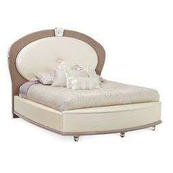 New Overture Glamour Queen Bed In Ivory Pearl White Upholste