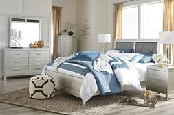 Olivel Contemporary Silver Color Bedroom Set: Queen Panel Be