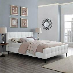 Modway Ophelia Upholstered White Faux Leather Platform Bed W