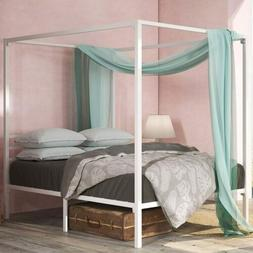 Zinus Patricia White Metal Framed Canopy Four Poster Platfor