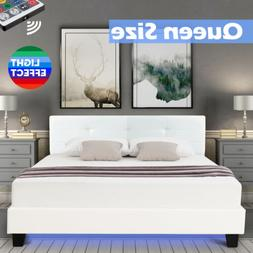 Queen Size Metal Bed Frame PU Leather Button Upholstered Pla